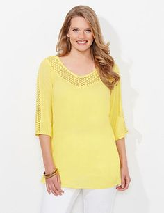 Swiss Dot Peasant | Catherines Our textured peasant top is the perfect way to add understated color to your wardrobe. Textured panels of eyelet line the neckline and sleeves of the lightweight gauze material. V-neckline. Three-quarter sleeves with elastic ends. Darted bust. Side slits at hem. Catherines tops are perfectly proportioned for the plus size woman. Also available in petite plus sizes. #catherines #plussizefashion #springstyle #petiteplus