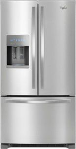 Whirlpool 36 Inch French Door Refrigerator with 25 cu. Capacity, External Water and Ice Dispenser, Spillproof Shelves, Two-Tier Freezer Storage and Tap Touch Controls in Fingerprint Resistant Stainless Steel Double Door Refrigerator, Stainless Steel Refrigerator, Stainless Steel Kitchen Appliances, Freezer Storage, Diy Countertops, New Kitchen, Kitchen Doors, Kitchen Ideas, Awesome Kitchen