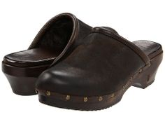 can't wait for pay day! Frye Clara Campus Clog Dark Brown Vintage Distressed Leather/Shearling - 6pm.com
