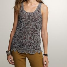 J. Crew Tops - J. Crew Merino Lace Shell  on Poshmark