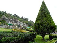 """Jardins de Tepeyac, ao fundo """"A Oferenda"""". Fica no entorno da Basílica de N Sra de Guadalupe na cidade do México. Foto : Cida Werneck"""