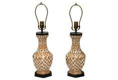 Rust & White Porcelain Lamps, Pair