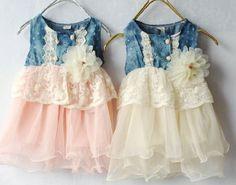 Girls Ivory Tutu Dress Denim Lace Waist Flower Corsage Denim White Girls Dress 9-12 Months,12-24 Mon on Luulla