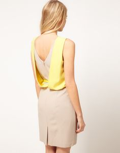 Oasis Drape Back Color Block Dress