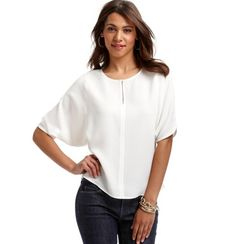 Tried this on today, so cute, gonna wait til it goes on sale -- Petite Split Neck Dolman Sleeve Wedge Top