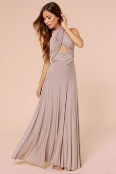 The whole top is full of surprises! Tricks of the Trade Taupe Maxi Dress at Lulus.com!