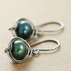 Green Pearl Earrings Wrapped in Sterling Silver, Oxidized Pearl Dangle Earrings, Handmade