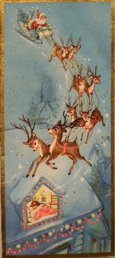 #2217 60s Unused Santa-Sleigh-Reindeer-Deer-Vintage Christmas Card-Greeting | eBay