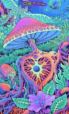Psychedelic tapestry 'Psy Shroom' Trippy wall art, Trippy wall hanging, UV reactive Psytrance wall-hanging, Blacklight reactive art decor