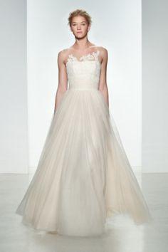 Stunning tulle wedding dress: http://www.stylemepretty.com/2014/10/25/14-incredible-illusion-neckline-wedding-dresses/ #SMPLookBook