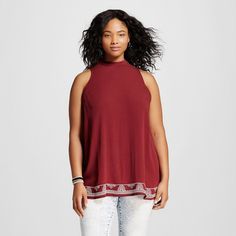 Women's Plus Size Embroidered Mock Neck Tank