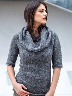 A generous cowl collar tops off a fitted top-down pullover with elbow-length sleeves.