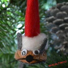 Santa Mouse using nut shells