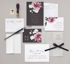 Florence Wedding Invitation & Correspondence Set / Vintage Florals and Marble Accents / Sample Set by rachelmarvincreative on Etsy https://www.etsy.com/listing/266398274/florence-wedding-invitation