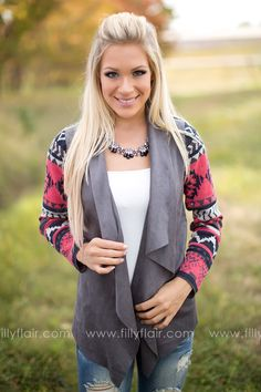 Don't miss out on this unique suede cardigan for fall!