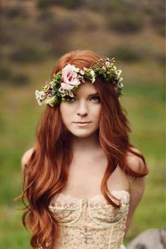*The flowers are so pretty w/long hair. Great for a portrait or outdoor wedding. ~H.