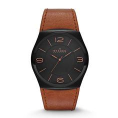 Havene Men's Three-Hand Leather Watch by Skagen