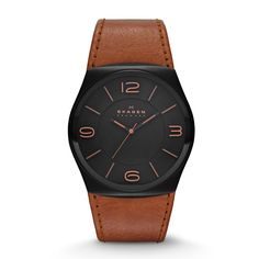 Havene Men's Leather Watch At 42 mm, the Havene Leather Watch is boldly proportioned. Sporting a black dial with large numerals marking the 12, 3, 6 and 9 o'clock positions, it makes a confident statement. A supple leather strap in black or brown leather finishes off this eye-catching sports watch for men.