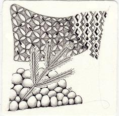 Ein Zentangle aus den Mustern Cobbles, Fanfeather, Illawarrior, Kiss gezeichnet von Ela Rieger, CZT