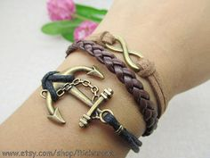 Retro Bronze Anchor & Digital 8  Black and brown by Richardwu, $5.50