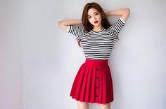 chuu - Pleated A-Line Button Skirt #skirt #buttonskirt #alineskirt #pleatedskirt