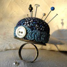 Tiny Blue Daisies Pincushion Ring