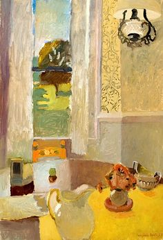 bofransson:  FAIRFIELD PORTER (1907 - 1975) - STILL LIFE WITH YELLOW TABLECLOTH, 1953