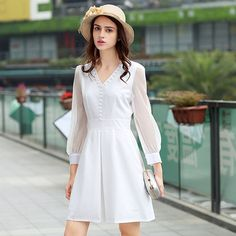 White V Neck Mini Dress
