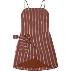 Knotted Stripes Slip Mini Dress ($17) ❤ liked on Polyvore featuring dresses, zaful, striped dress, short striped dress, striped mini dress, brown dress and slip dresses