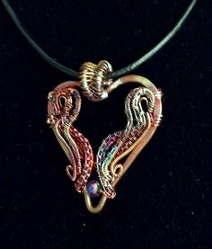 Flame painted copper heart pendant