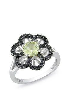 Citrine and black diamond flower ring
