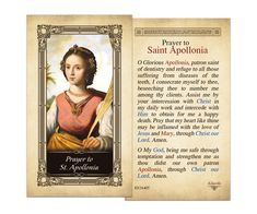 Apollonia Laminated Holy Card Prayer to St, Kilgarlin holy card, Prayer to St. Divine Mercy Prayer, Prayer For Peace, Say A Prayer, Prayer For You, Daily Prayer, Prayers To Mary, Prayers For Healing, Bible Prayers, Catholic Prayers