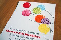 Balloons invitation - Birthday/Children's birthday