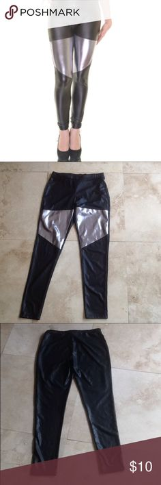 Material Girl Metallic Faux Leather Leggings Made from polyester and spandex. Full length. Size small on tag. Material Girl Pants Leggings