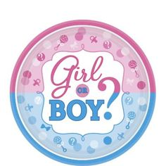 Girl or Boy Gender Reveal Dessert Plates add to the mystery of your gender reveal party! These small gender reveal plates read 'Girl or Boy? Gender Reveal Party Supplies, Kids Party Supplies, Reveal Parties, Imprimibles Baby Shower, Baby Shower Invitaciones, Gender Party, Baby Gender, Distintivos Baby Shower, Baby Showers
