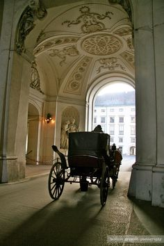 A horse-drawn carriage exiting Hofburg Palace in Vienna, Austria