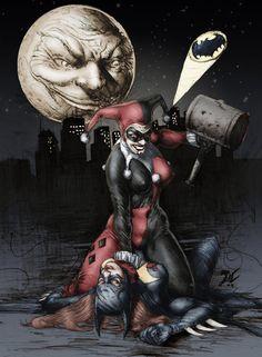 Batgirl vs Harley Quinn by TracyWong on DeviantArt Comic Book Characters, Comic Book Heroes, Comic Books Art, Comic Art, Harley Quinn Drawing, Joker And Harley Quinn, Im Batman, Batman Art, Marvel Dc