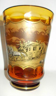 Art Deco Vase Glas mit Schwarzlotmalerei Haida Steinschönau 30er Jahre Bohemia Glass, Swarovski, Art Deco, Shot Glass, Joseph, Glass Art, Antiques, Tableware, Bohemian