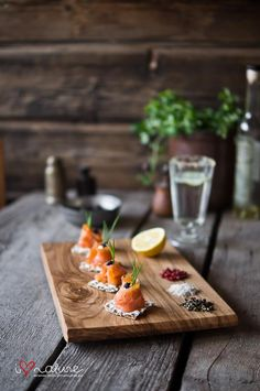 Smocked salmon with a drizzled of lemon !! Served on a delightful wooden board!!i think this is what heaven serves for lunch xx