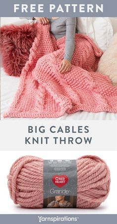 Free Knit Big Cables Throw Pattern using Red Heart Grande yarn. Use this beautiful and bulky yarn to quickly work up chunky cables. Cable Knitting Patterns, Free Knitting, Crochet Patterns, Blanket Patterns, Knitting Scarves, Knitted Afghans, Knitted Blankets, Knitted Cushions, Knit Linen Stitch