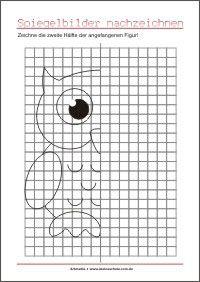 Zeichne Die Zweite Halfte Spiegelungen Visuomotorik Ubungen Fur Vorschule Vorschule Kinder Reime Vorschulalter