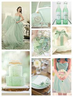 Mint green wedding dress  #greenwedding   #mintgreenweddings #bbbinspired  http://www.bridesbubblesandbliss.com/home/spring-2014-mint-color-palette/
