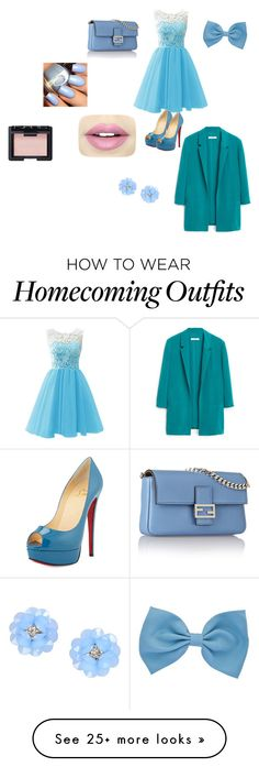 """""""Party"""" by totes125 on Polyvore featuring Christian Louboutin, Fendi, Fiebiger, NARS Cosmetics, MANGO and Dettagli"""