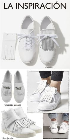 DIY We start the week with an easy, fast and very trendy DIY: sneakers that blend with the classic moccasin. As I think, the first design with this idea was one of Marc Jacobs that po Ring Armband, Armband Diy, Diy Clothes And Shoes, Diy Clothing, Reuse Clothes, Crea Cuir, Shoe Makeover, Shoe Refashion, Diy Kleidung