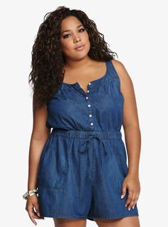 Plus Size Chambray Romper