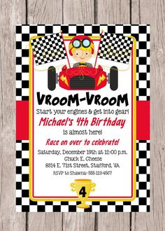 PRINTABLE Race Car Birthday Party Invitation / by ciaobambino