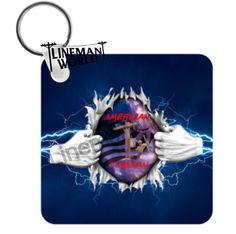 Personalized Keychain Linewife Keychain Lineman Keychain Split Heart Keychain