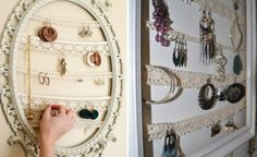 Use a frame of your choice take ribbon lace and staple or glue it to the back of the frame to create a wonderful jewelry display. Have fun.