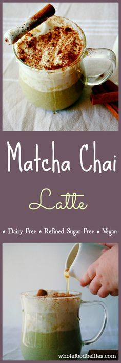 Matcha Chai Latte. Super creamy and delicious #vegan drink #refinedsugarfree and perfect for a comforting winter treat. #cinnamon #matcha