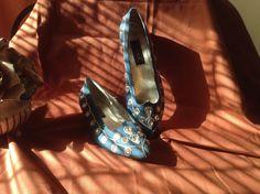 SOLD!! Women Ladies J. Renee Denim Blue Jewel Stones Ballet Flats Slip Ons Shoes SZ 9  #JRenee #BalletFlats #Party